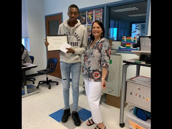 10th Grade student of the month Jamesley Medina