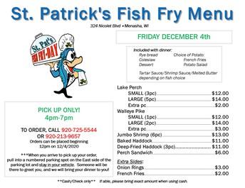 St. Patrick's Fish Fry Menu