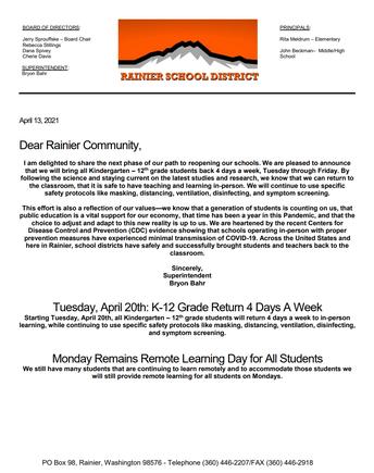 Superintendent Announcement: K-12 Return 4 Days A Week