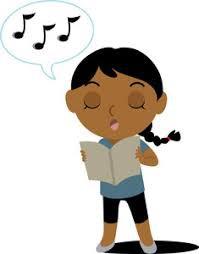 girl holding sheet music and singing