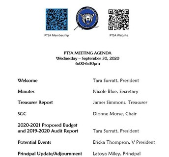 9/30: PTSA Meeting @ 6:30 p.m.