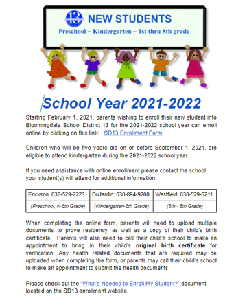 Enrolling a BRAND NEW Student to District 13 AND Starting in August 2021?