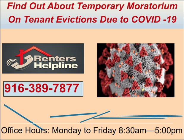 Renters Helpline flyer with office hours, phone number and photo of COVID-19 virus. Click on flyer to visit website.