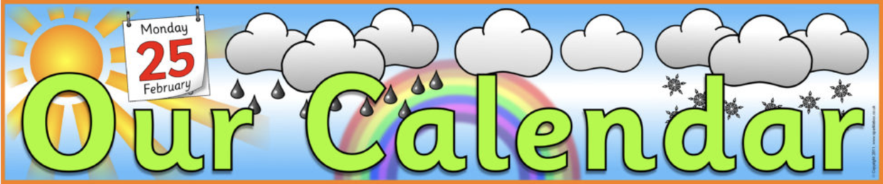 Image of our calendar banner with a sun, clouds, falling rain, rainbow, and falling snow.