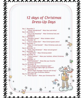 12 Days of Christmas Dress-Up Days Themes