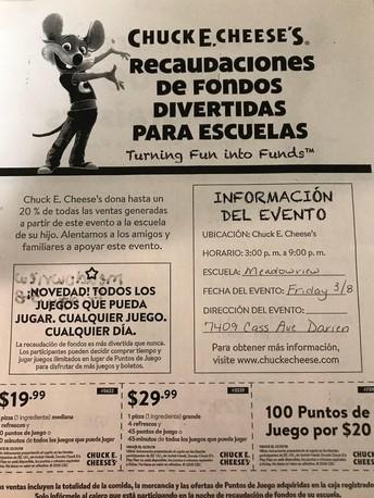 PTO Chuck E. Cheese Fundraiser!