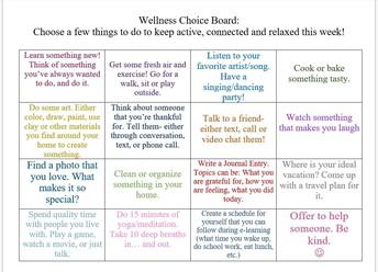 Wellness Choice Board