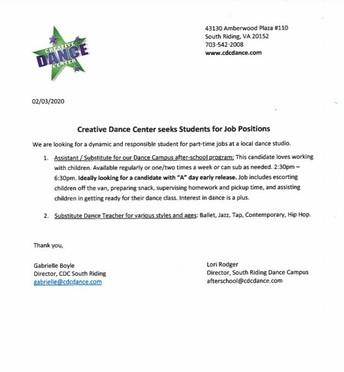 Creative Dance Center: JOB OPPORTUNITY