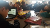 7th graders writing on Wednesday afternoon