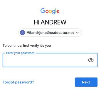 Change to CSD G Suite passwords for Pre-K-2 students
