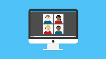 Image of students learning online.