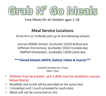 FREE LUNCH AT JEFFERSON 10am to 12pm April-May 4th