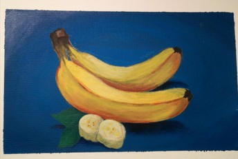 Still life painting of 2 banana's with two sliced banana pieces in the foreground