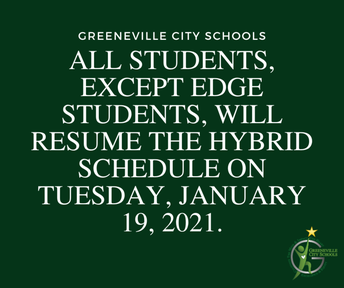 Resume Hybrid Schedule Tuesday, January 19th
