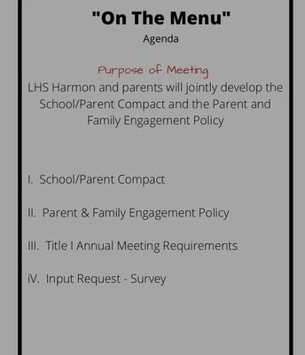 "Harmon ""On The Menu"" September 28th Agenda"