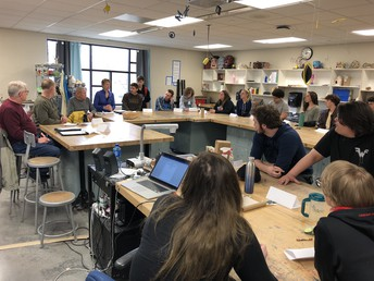 Mr. Laizure's Advanced Drawing students meet with Urbandale Public Art committtee