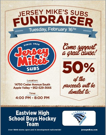 Jersey Mike's Fundraising Night for EV Boys Hockey 2/16/21