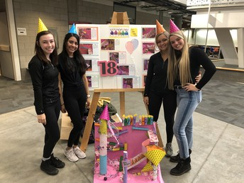 "3rd Place High School Division:  ""Happy Birthday (Pictured L to R: Lydia Dayton, Maria Knoll, Devan Fisher, Bailey Lamm)"