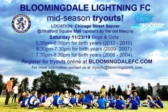 Bloomingdale Lightning FC mid-season tryouts!