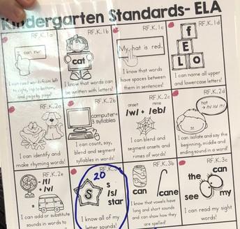 Kinder Individual Checklist