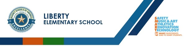A graphic banner that shows Liberty Elementary School's name and SMART logo