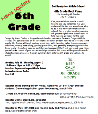 6th Grade Boot Camp