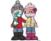 cartoon drawing of 2 children dressed in winter clothes