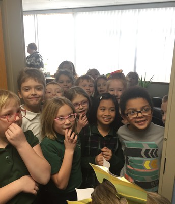 2nd Graders sneak up on Mrs. Hibler