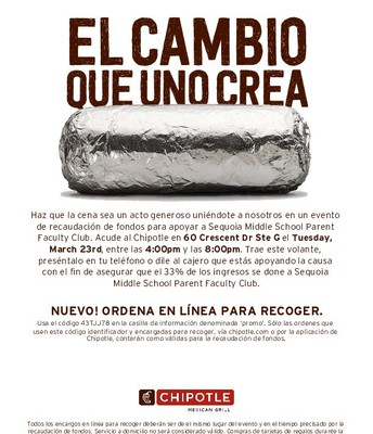 Spanish Flyer for Chipotle fundraiser