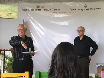 Stephen Krashen (right) and Alfonso Dorado (left)