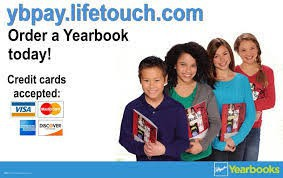 photograph of school age children holding yearbooks and text that refers to ordering a yearbook and what credit cards are accepted