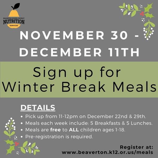 English winter break meals picture