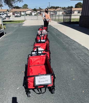 Behind the scenes - the lunch train that sends food to classrooms.