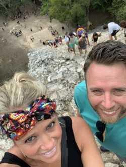 Ms. Hudson hiked a Mayan pyramid in Mexico!
