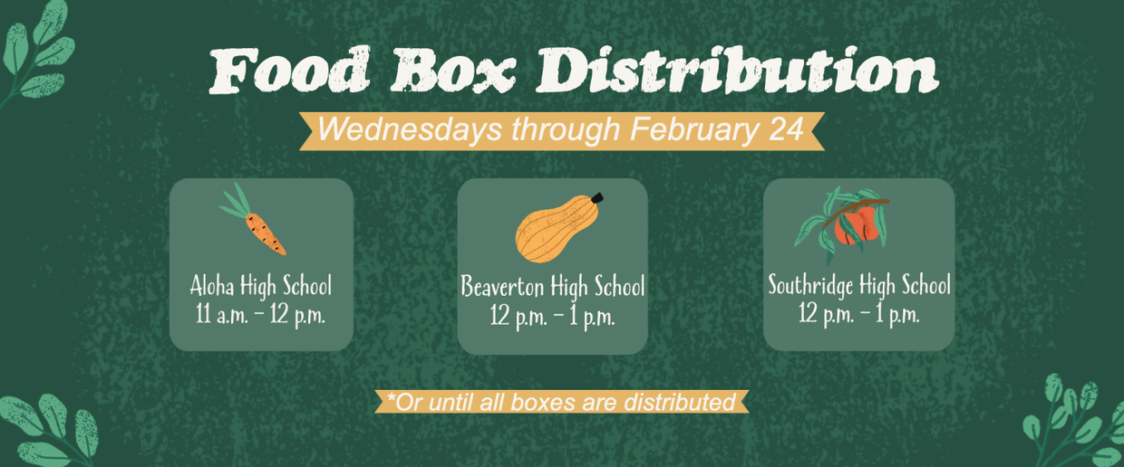 Food Box Distribution graphic with locations and times