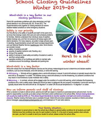 2019-20 School Closing Guidelines Flyer