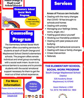 Elementary Social Work Counseling Program Offerings