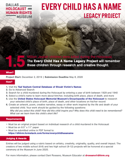 Every Child Has a Name Project flyer sponsored by the Dallas Holocaust and Human Rights Museum