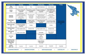 Cafeteria Menu March 1-4