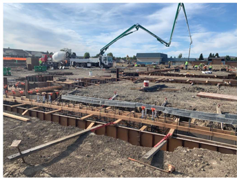Pouring the Foundation at the New Elementary School