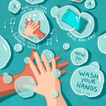 Illustrated picture of handwashing