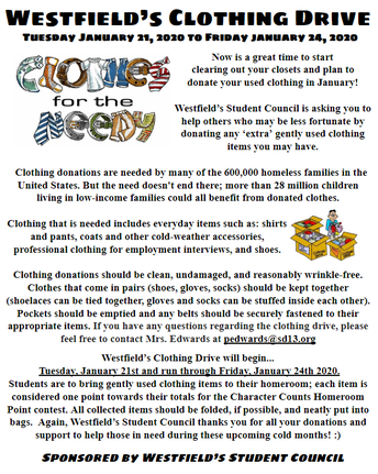 Clothing Drive in January