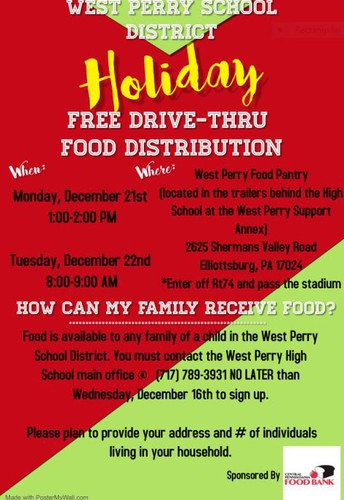 West Perry School District Holiday Free Drive-Thru Food Distribution