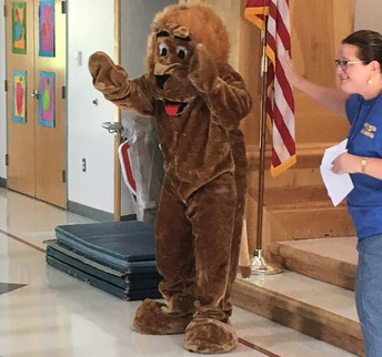 Leo greets students