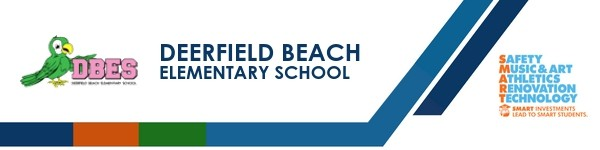 A graphic banner that shows Deerfield Beach Elementary School's name and SMART logo