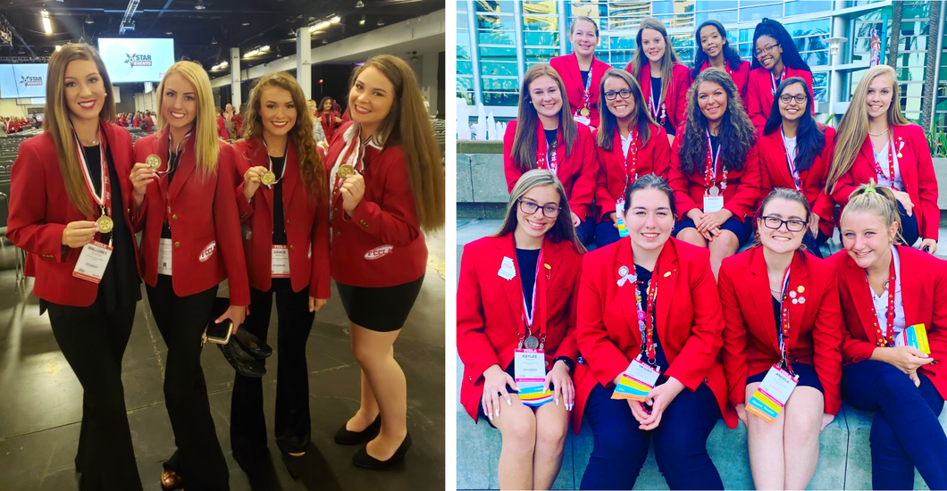Two photographs show students from Bulloch County School in attendance at the Family, Career and Community Leaders of America (FCCLA) National Convention. On the left are students from Southeast Bulloch High School. The photo on the right shows students from Statesboro High School.