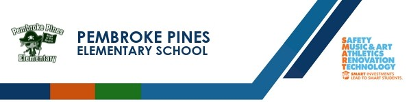 A graphic banner that shows Pembroke Pines Elementary School's name and Smart logo