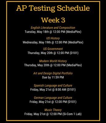 AP Testing Schedule - Week 3