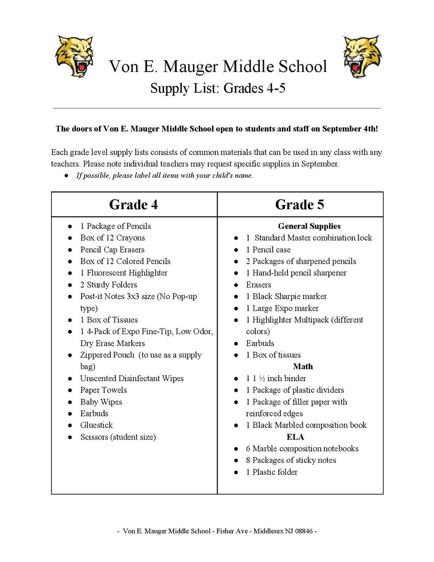 Von E  Mauger Middle School | Smore Newsletters