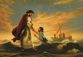 Jesus walks on water with Peter